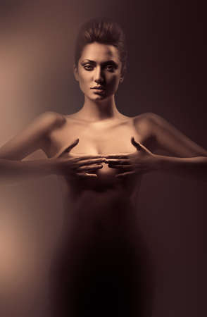 desnudo artistico: Mujer desnuda sensual en la niebla sucia Foto de archivo