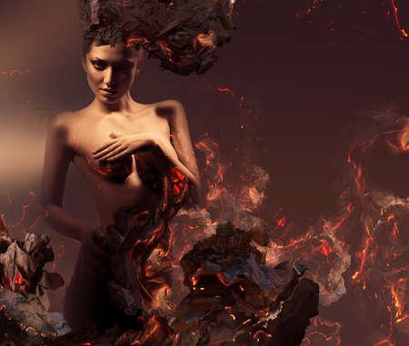 desnudo de mujer: mujer desnuda er�tica sexy en cenizas ardientes