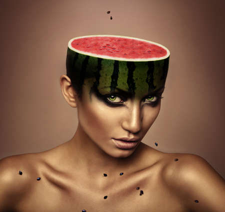 woman with watermelon head photo