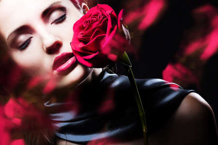 attractive woman with rose photo