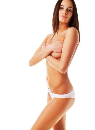 sexy nackte frau: Yuong Brünette Frau mit perfekten Körper auf weißem Hintergrund