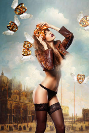 beautiful woman in mask on venice background photo
