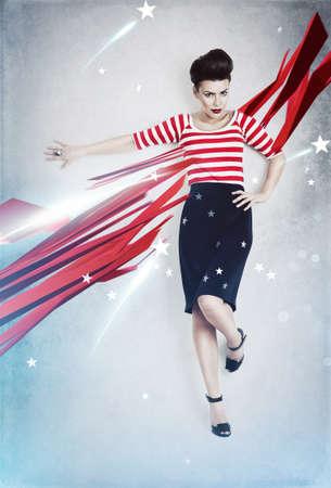 american sexy: сексуальная женщина кинозвезды, как американский флаг Фото со стока