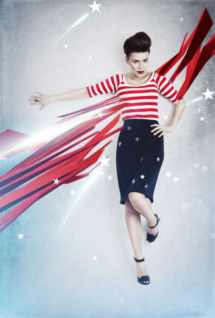 american sexy: sexy pinup woman as american flag