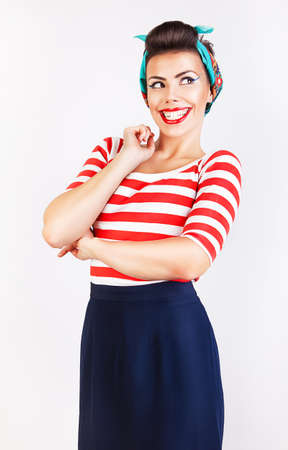 interesting cute smiling woman in striped t-shirt photo
