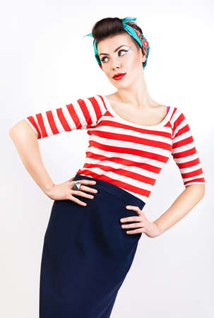 sexy pinup woman in striped t-shirt photo