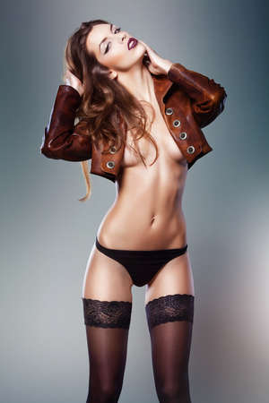 nude fashion model: sexy woman in jacket
