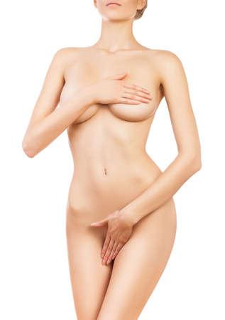 corps femme nue: mince corps de femme en bonne sant� sur fond blanc Banque d'images