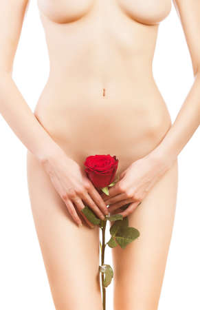 naked body: naked woman with rose on white background