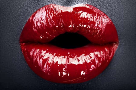 gorgeous red lips (black background) photo