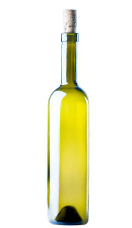corked: Corked Green Wine Bottle  isolated on a white background