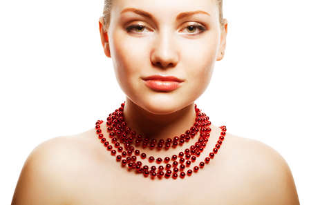 accessorize: beautiful woman with red accessorize on white background Stock Photo