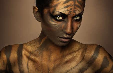attractive sexy tiger woman Imagens