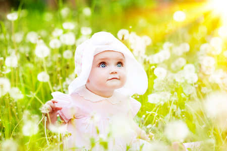 sweet little girl sitting on the meadow photo