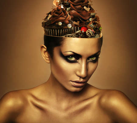 woman with chocolate in head photo