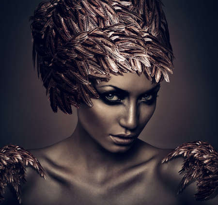 woman with hat of feathers