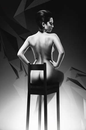 nude female: sexy naked woman on black chair