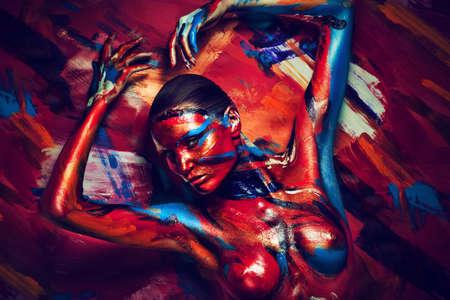 bodyart와 섹시한 여자 스톡 콘텐츠
