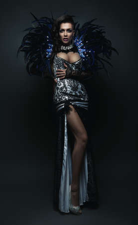 showgirl in dress with feathers photo