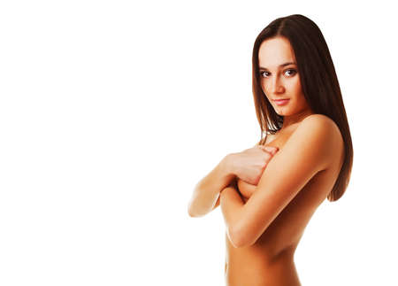 topless brunette: topless brunette woman on white background Stock Photo