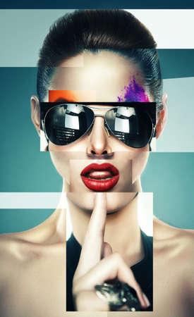 선글라스와 여자의 콜라주 스톡 콘텐츠