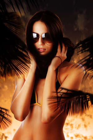 breast sexy: woman in sunglasses at sunset and hair around neck