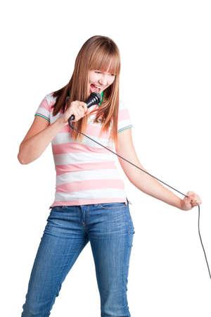 kareoke: Girl Singing on white background Stock Photo