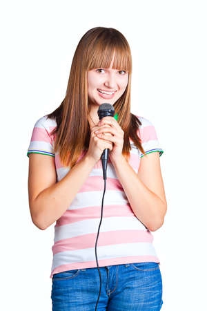 Girl Singing on white background photo