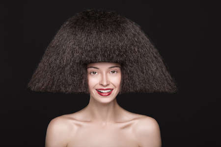 bouffant: Portrait of a woman with bouffant and red lips