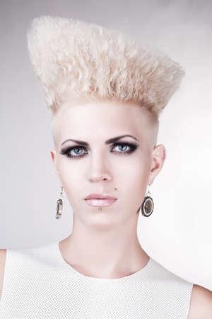 close-up portrait of beautiful punk blond woman