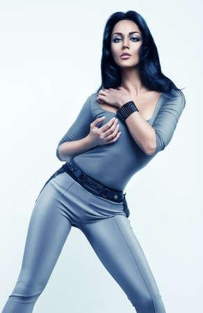 futuristic woman: futuristic woman in silver costume