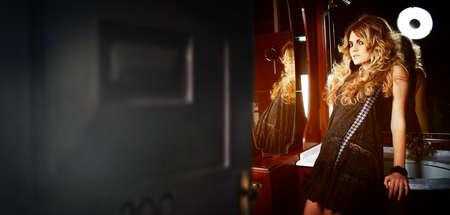 opening the door to womans restroom photo