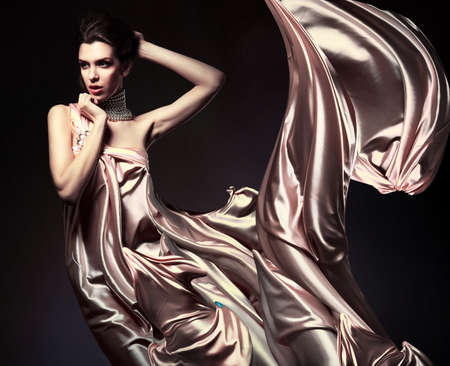 silks: attractive woman in beautiful fabric Stock Photo