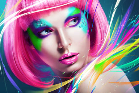 woman with multi lines and pink wig 스톡 콘텐츠
