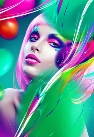 woman with pink hair and colourful lines