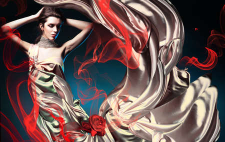 beautiful woman in long fairy dress and red abstract photo