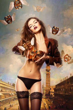 nacked: beautiful sexy woman with venetian mask in venice