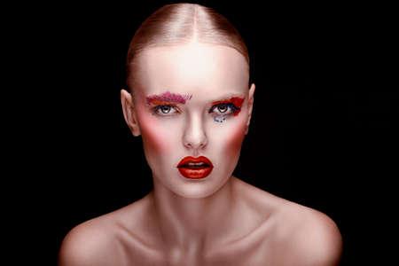 close-up portrait of beautiful woman Stock Photo