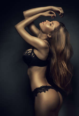 breast sexy: sexy woman in black lingerie with long hair