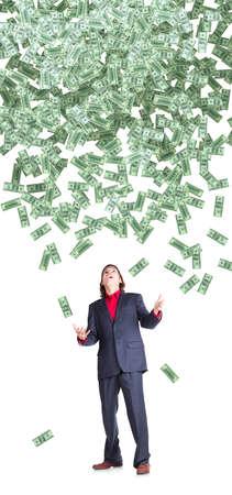 dolar: Recepciones empresario volando billetes dolar sobre fondo blanco Foto de archivo