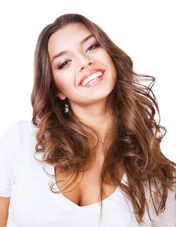 흰색 배경에 재미 있은 귀여운 웃는 여자