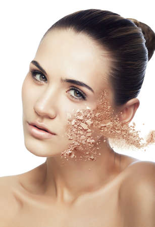 crumbly: woman and crumbly powder on white background
