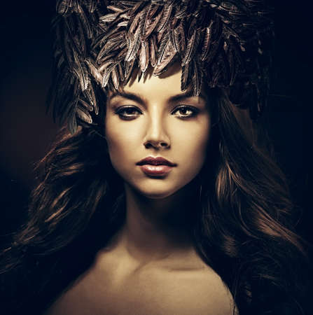 sexy beautiful woman in hat in dark Banque d'images