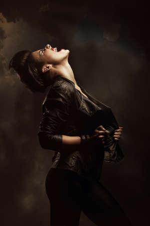 screaming woman in jacket