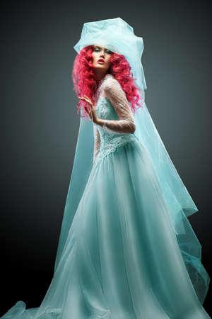 fashion girl turquoise veil photo