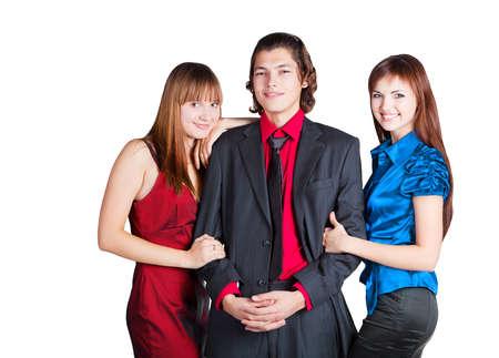 workteam: Workteam is smiling on white background