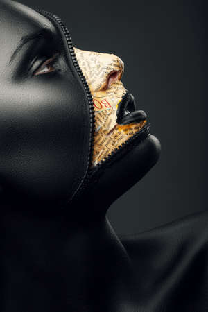 creative woman with zip on face