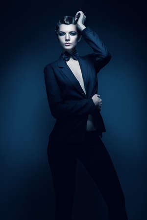 blazer: elegant woman in black blazer Stock Photo