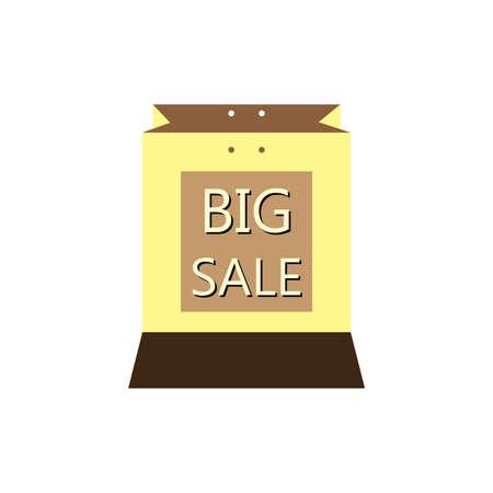 Brown big sale discount bag illustration.