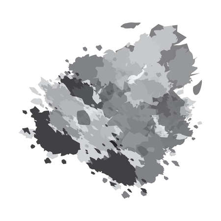 Ink Stain, Grey Color Blot, smudges, splashes, Abstract Artistic Painting Background, Vector Illustration
